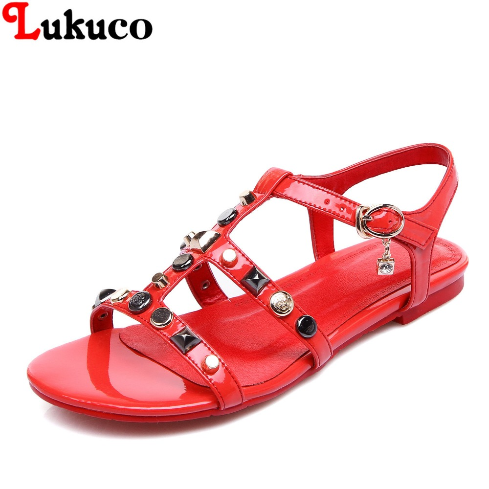 2016 Plus size 41 42 43 44 45 elegant genuine leather women flats casual lady sandals open-toe Rhinestone design  -  LUKU CO., LIMITED store