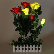 New Arrival Waterproof IP55 Solar Power 3 Rose Flower LED Light Garden Yard Lawn Decoration View