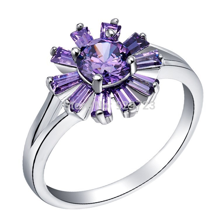 Sunflower Ring - 925 Sterling Silver Ring Zircon for Woman Purple Crystal Sunflower Heliotrope Finger Ring Lovers(China (Mainland))