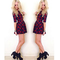 Jimshop 2016 Women Red Plaid Dress Autumn Winter Women Round Neck Half Sleeve Mini Dress