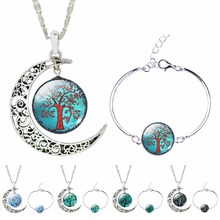 SET0113 Silver Color Plated LifeTree Photo Glass Cabochon Moon Pendant Chain Necklace Bracelet Bangle Jewelry Sets For Women(China (Mainland))