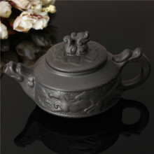 New Arrival Chinese Dragon Kung Fu Tea Sets Yixing Purple Clay Teapot Black Teacup 3 Pcs