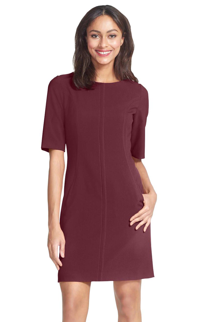 Berydress Elegant Chic Women Short Sleeve Shift Dress 2017 Hot Selling Pockets Casual Wear to Work OL Business Dress Short
