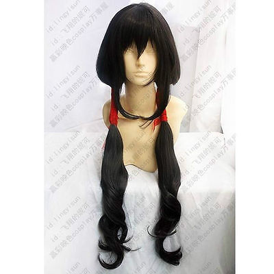 Cosplay Long Black High Temperature Silk Cos Wigs Fashion Style Hair Wig Party cosplays heat resistant (B0320)<br><br>Aliexpress