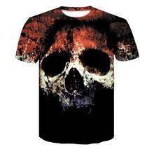 2018 ホット販売新メンズ夏の頭蓋骨ポーカー印刷男性半袖 Tシャツ 3D Tシャツカジュアル Tシャツプラスサイズ tシャツ(China)