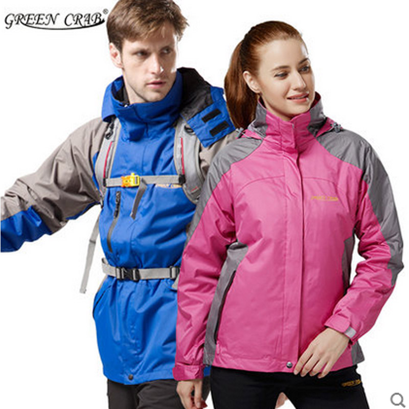 GREENCRAB trekking jacket men and women outdoor waterproof windproof hiking camping removable Two-piece Jackets for men 3in1(China (Mainland))