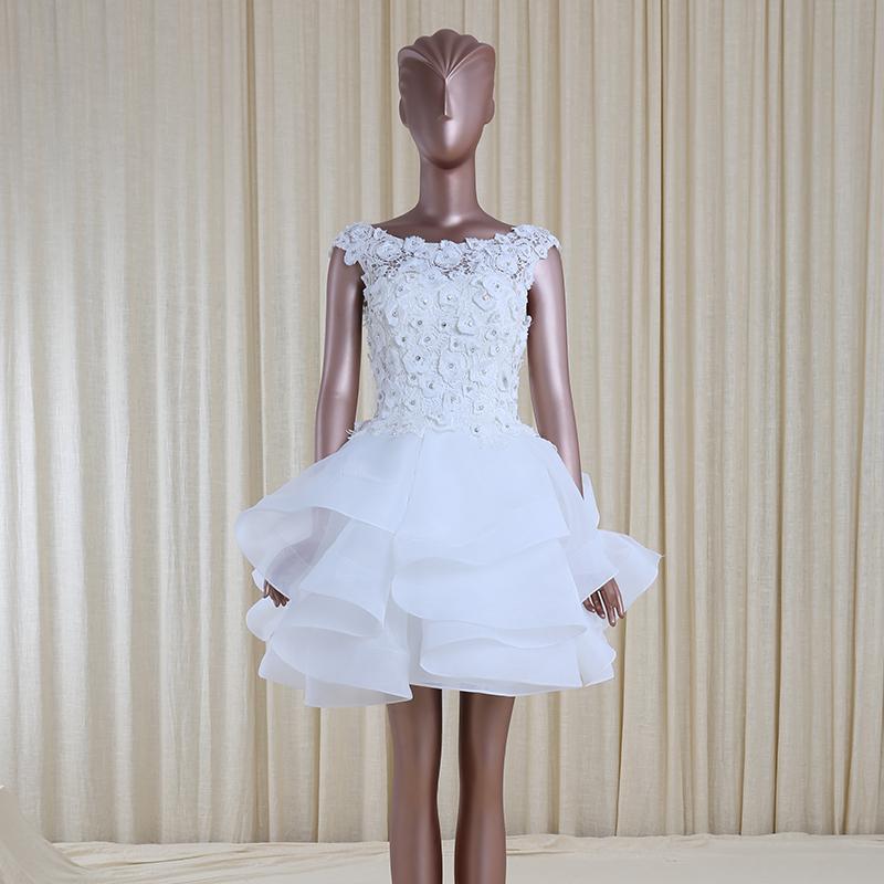 Fashion design beaded organza puffy mini wedding dresses for Beaded short wedding dress
