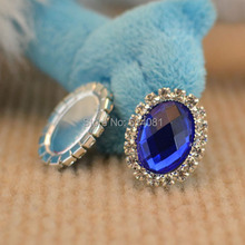 100Pcs Blue DIY Oval Metal Rhinestone Acrylic Button Wedding Embellishment Hair Craft BT03-BE