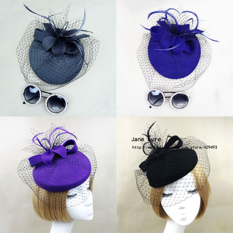 New Fashion Offer 4 Color Purple,Gray,Black,Royal blue Wool Hat, Felt Fascinator with Veil, Hair fascinators for weddings(China (Mainland))