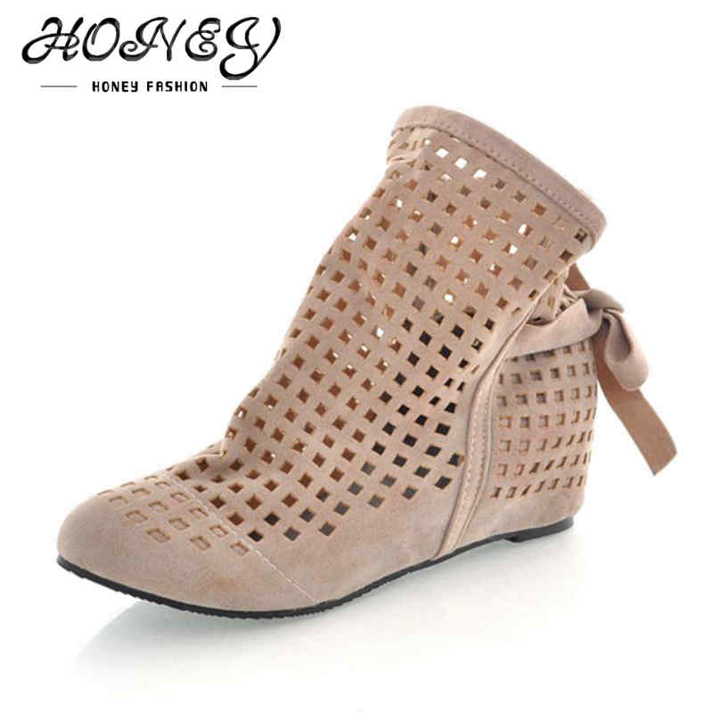 New Fashion Spring Summer Hollow Lace Women Genuine Leather Ankle Boots