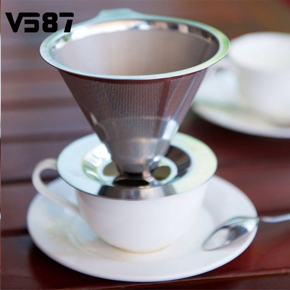 Stainless Steel Pour Over Cone Coffee Dripper Double Layer Mesh Filter Paperless Home Kitchen Coffee Shop Coffee Brewing Helper(China (Mainland))
