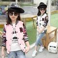 2016 New Summer Autumn Girls Coats And Jackets Print Active Baseball Jacket Children Pocket Button O
