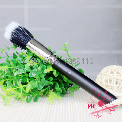 Free shipping 1x Makeup Cosmetic Beauty Duo Fiber Stippler Blush Foundation Powder Brush Black A2162 3Dmyc(China (Mainland))