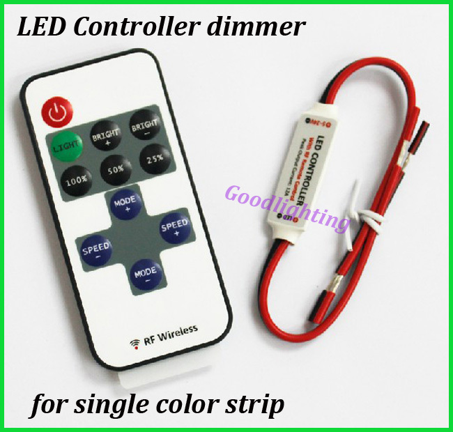1piece RF wirelss led dimmer DC5-24V led control dimmer for single color led strip single color(China (Mainland))