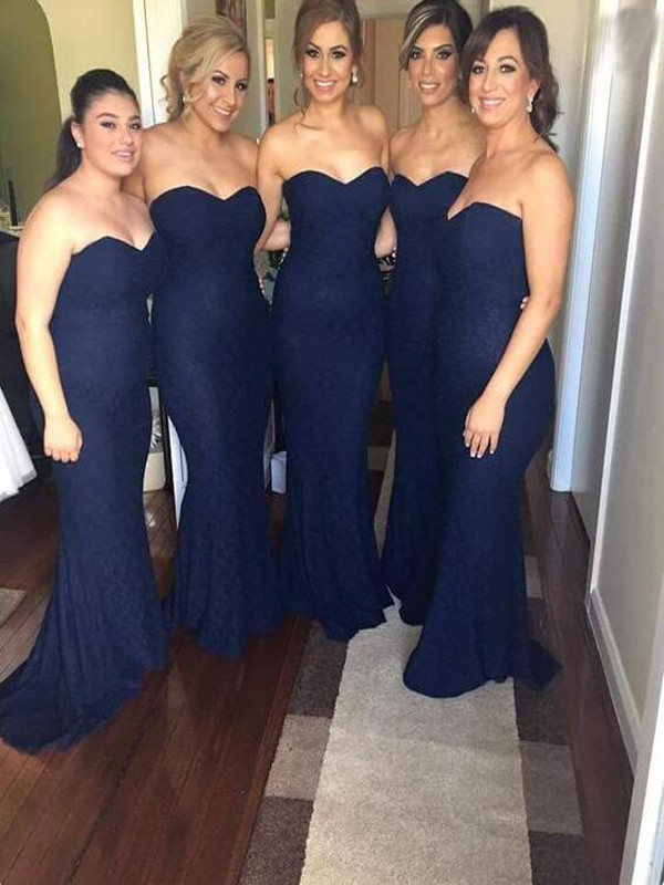 Blue Chiffon Mermaid Sweetheart Long Bridesmaid Dress Floor Length Cheap Bridesmaid Dresses Prom Gown Wedding Party Dress
