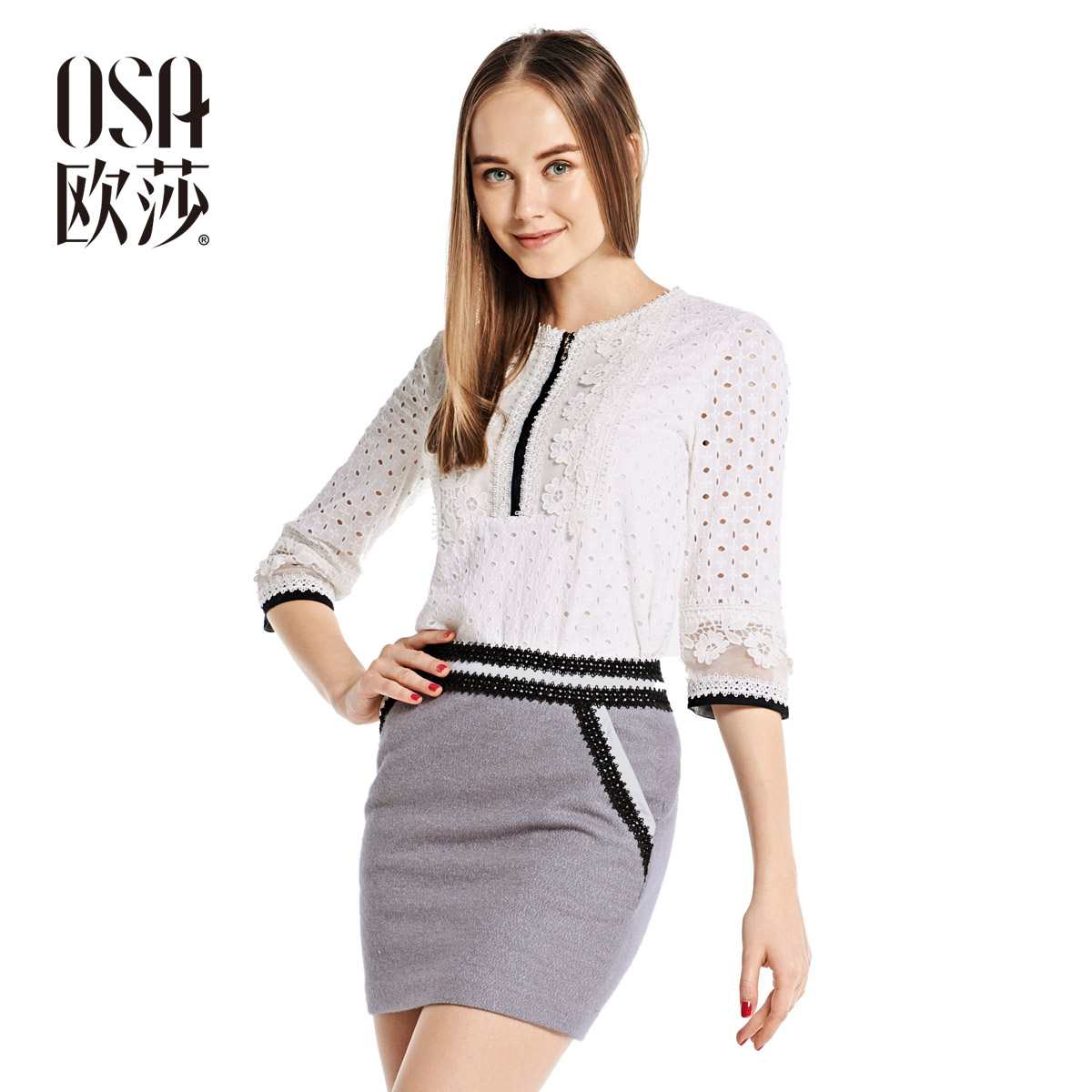 OSA 2014 Womens OL Stylish Autumn Fashion Blouses Embroidery Hollow Out Lace Splicing Tops Shirts Blusas Cotton SC415007(China (Mainland))