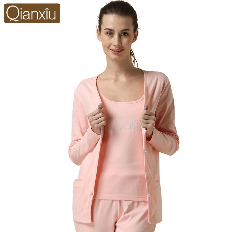 Qianxiu Brand Womens Long Sleeve Pink Gray Cotton Pajamas 3 pcs Sets Ladies Lounge Sleepwear T-shirt Vest &amp; Long Pant M L XL XXLОдежда и ак�е��уары<br><br><br>Aliexpress