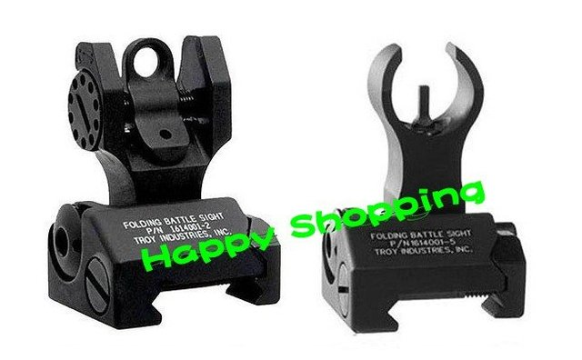 Metal Troy Front and Rear Folding Battle sights COMBO free shipping