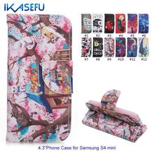 IKASEFU Cartoon Leather Coque Cover for Samsung Galaxy S4 Mini Stand Wallet Flip Case Magnet Closure Shell for Galaxy S4 Mini(China (Mainland))