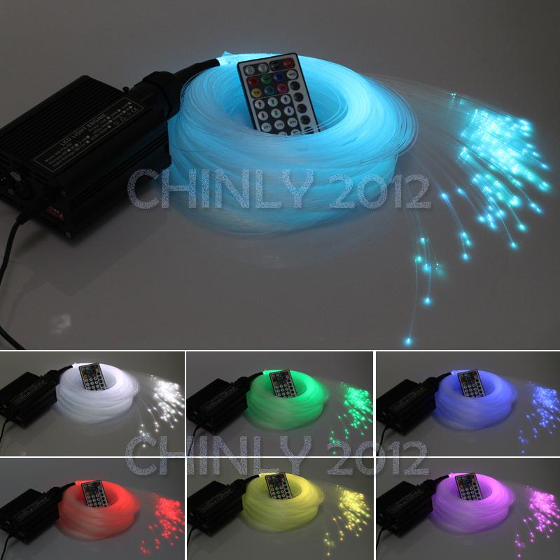 DMX 16W RGBW LED plastic Fiber Optic Star Ceiling Kit Lights 450pcs 0.75mm 3M optical fiber lighting+28key RF Remote(China (Mainland))