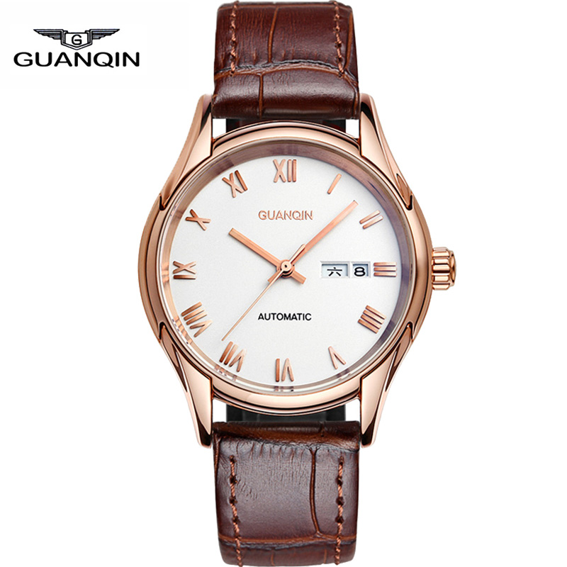 watches men 2015 GUANQIN top brand luxury double calendar full automatic mechanical fashion leather leisure relogio masculino<br><br>Aliexpress