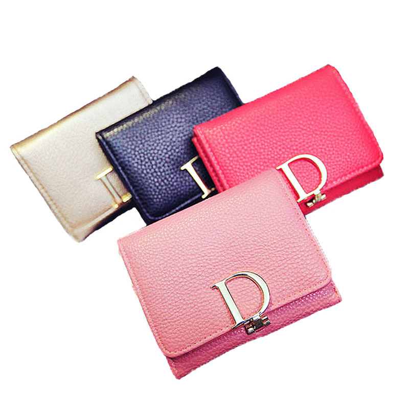 Fashion solid girl small wallet women wallets multi-card coin purse day clutch multicolor black gold(China (Mainland))