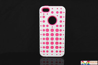 for iphone 5s case Hot selling  !!! New wave point case for iphone5 -pink silicone + white PC