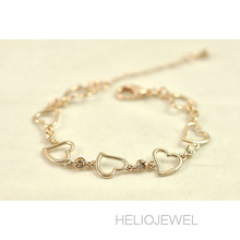 HIGH QUALITY! Viennois rose gold heart station/line bracelet with  -- korean fashion bracelets for women (China (Mainland))