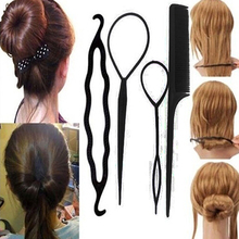 Женская 4 шт. твист укладки волос клип-палки бун чайник кос инструмент аксессуары для волос 9A8O