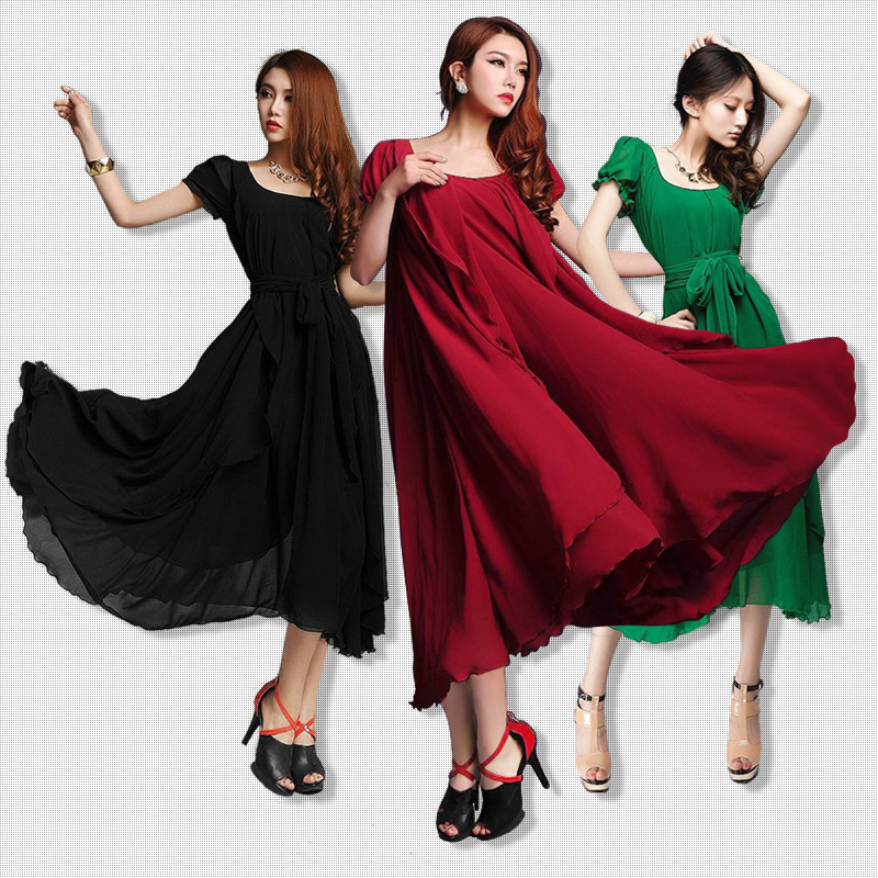 2015 New Korean Style Women Pleated Maxi Chic Prom Dress for Evening Chiffon Women Clothing Vintage Long Summer Casual Dress(China (Mainland))