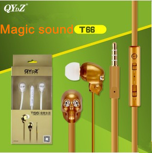 100% original QYDZ T66 skull headset 3.5mm In-ear magic sound Clear Bass Metal Headphone Noise isolating for MP3 MP4 Cellphone(China (Mainland))