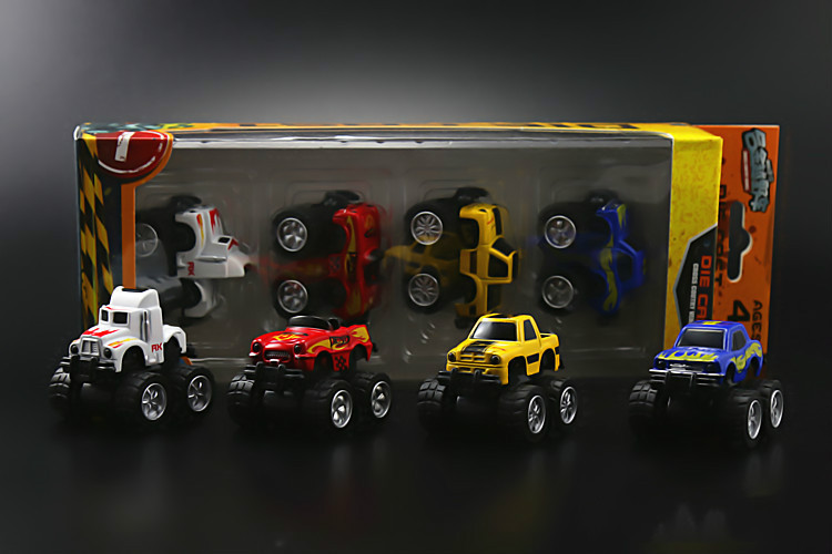 Car Styling 1/64 4pcs/set Die Cast Alloy Plastic Mini Sport Car Truck Big Wheel Scale Model Kid Toy Best Gift Collection(China (Mainland))
