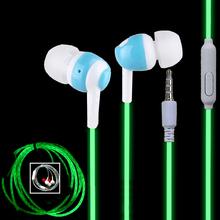 Caliente Glow In The Dark en la oreja auriculares de neón luminoso oreja los auriculares con micrófono noche iluminación para el iPhone Samsung Xiaomi