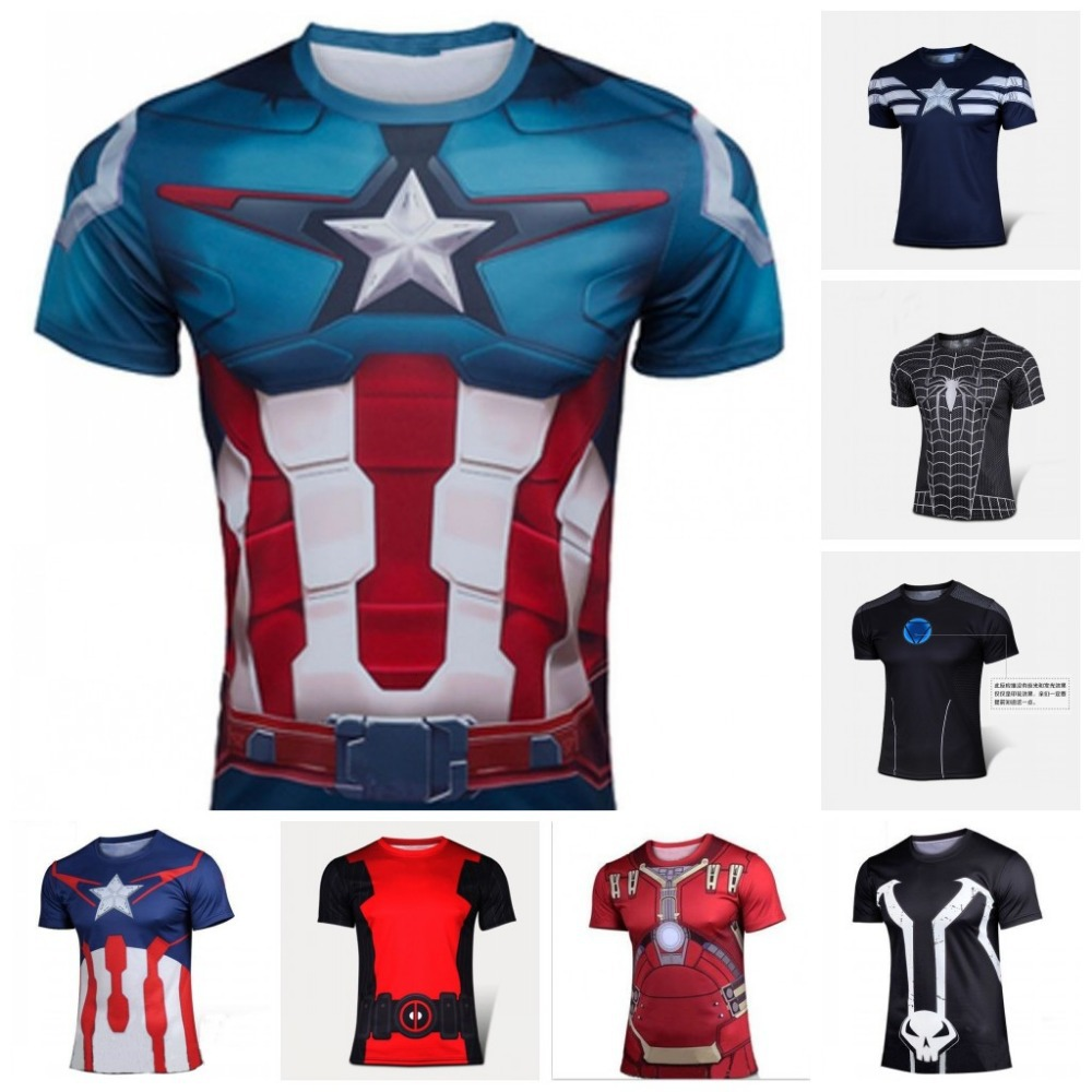 Captain America quick-drying straitjacket Hot source 3 d digital fitness quick-drying movement short sleeve T-shirt straitjacket(China (Mainland))