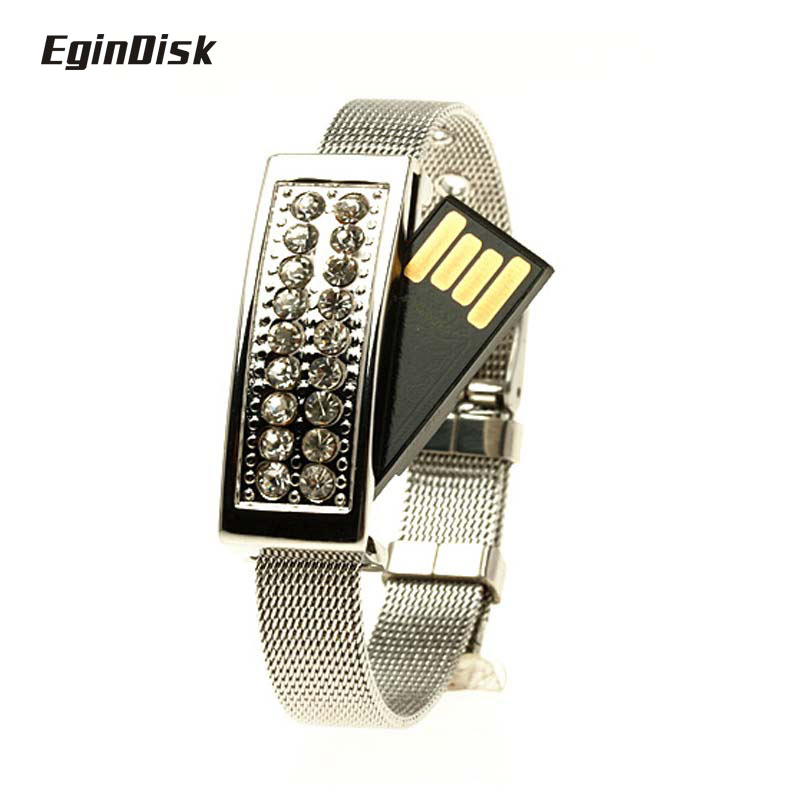 2017 Fine Gift Usb Stick Crystal Jewelry Wrist Band Pen Drive Bracelet Flash Drive Real Capacity Pendrive 8gb 16gb 32gb 64gb(China (Mainland))