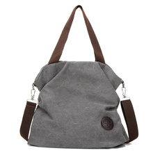 Buy New Fashion Women Messenger Bags Solid England Style Big Capacity Canvas Handbag Tote Shoulder Bag Casual Crossbody Bag Grey for $16.09 in AliExpress store