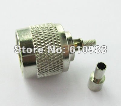 (10 pieces/lot) Nickel Straight N Crimp Plug connector straight for LMR100 RF316 RG174(China (Mainland))