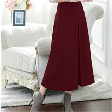 New Winter Long Skirt Women Fashion High Waist A -Line Maxi Skirt Slim Elegant Ladies Thick Big Swing Woolen Skirts Female C1218