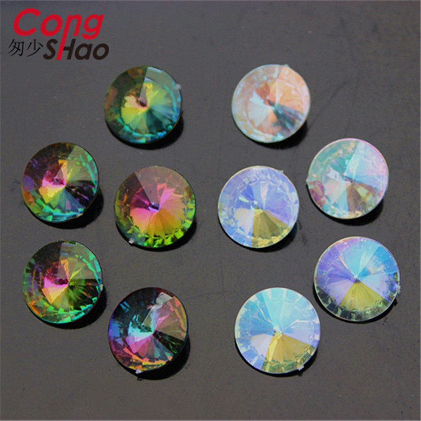 Cong Shao 16mm 100Pcs Super Shiny AB color Round Crystal Fancy Stone Acrylic Rhineston Beads Jewelry Accessories ZZ406(China (Mainland))
