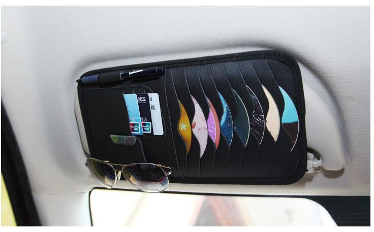 Car Sun Visor Leather CD/DVD Card Folder FOR audi a4 ford focus 2 seat ibiza opel volvo xc60 seat leon fr citroen Accessories(China (Mainland))
