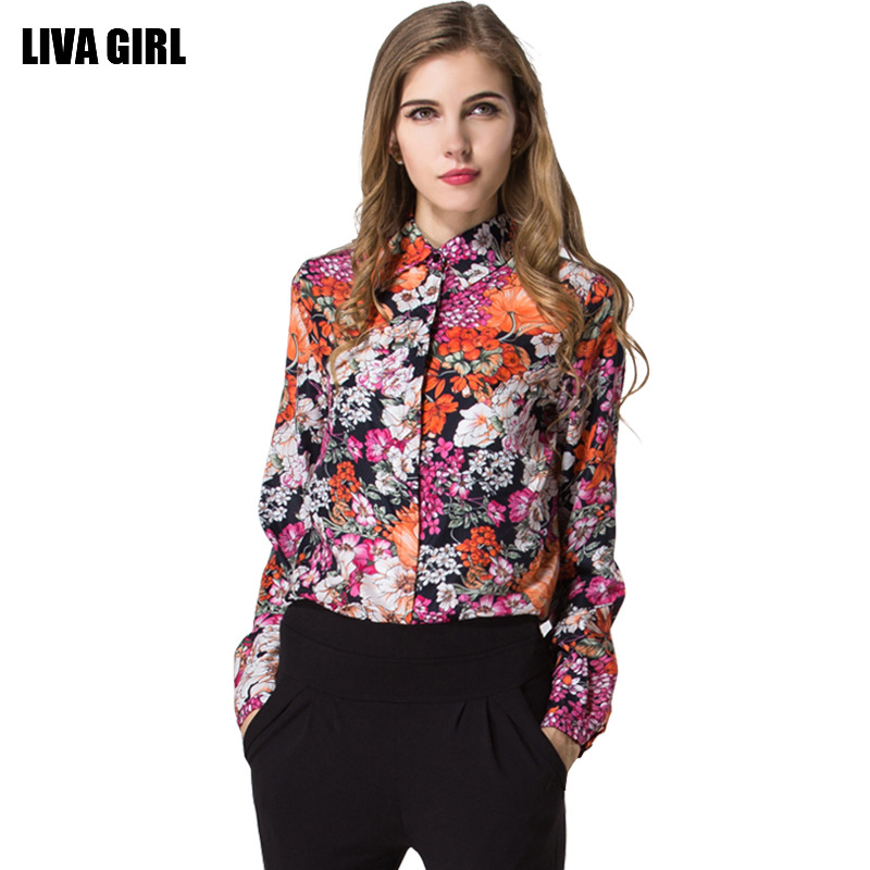 European and American retro print flower wholesale women shirt large size 2016 long-sleeved chiffon blouses factory outlets 0905(China (Mainland))