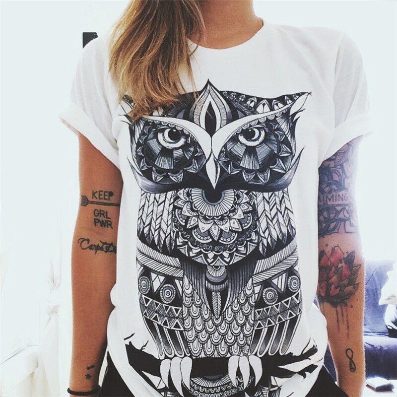 2016 11.11 Women European T-shirt Owl Print Punk Rock Fashion Graphic Tees Women White Designer T shirt Clothing(China (Mainland))
