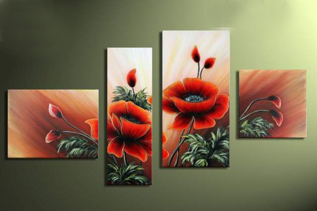 100% Hand Made Roadside Grass Safflower High Q. Abstract Landscape Modular Pictures Oil Painting On The Wall 4pcs/Set Unframed(China (Mainland))