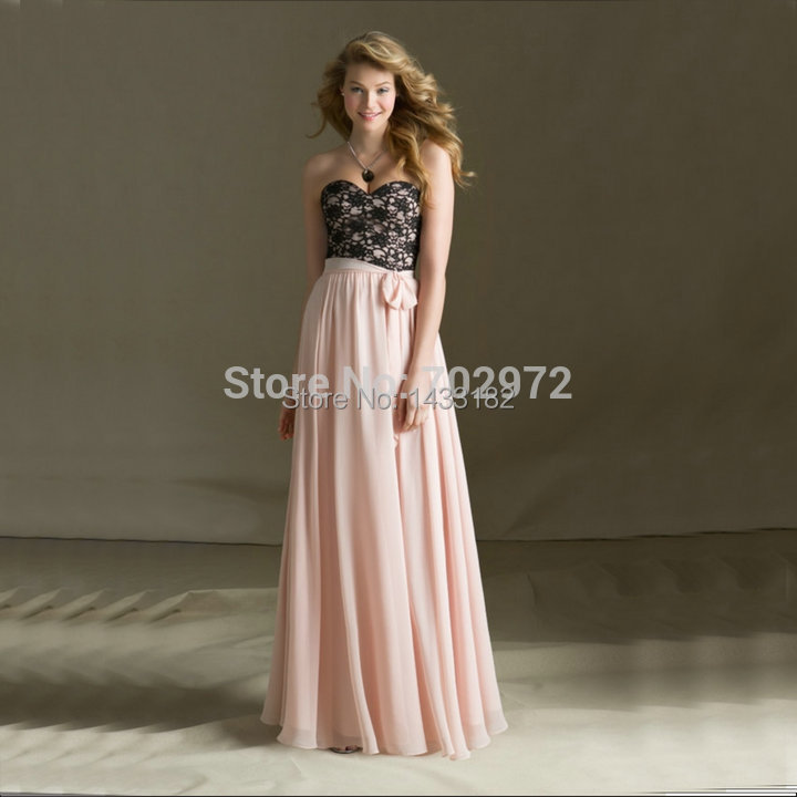 Beautiful Lace And Chiffon Cheap Price Party Gowns Black And Pink Bridesmaid Dress 2014 Wedding