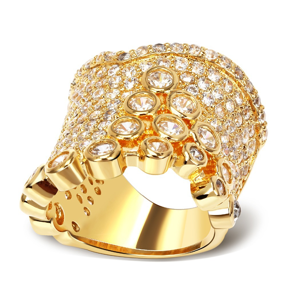 Big Ring copper material with gold plated & Cubic zircon prong setting Ladies jewelry Free shipment size 6, 7, 8, 9(China (Mainland))
