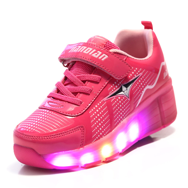 Ultra Light Child Wheels Shoes with LED Lamp New Children Heelys Roller Skate Sneakers with Light Boys Gilrs Luminous Shoes 1224(China (Mainland))
