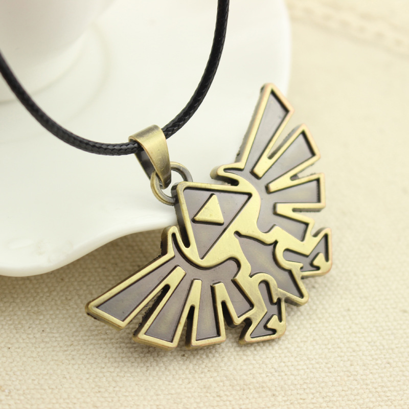 3D The Legend Of Zelda Pendant Antique Bronze Vintage Triforce Necklace High Quality Gothic Women And Men Rope Leather2D85(China (Mainland))