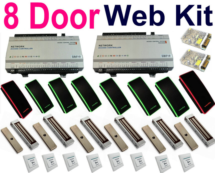 8 Door Weberver Remote IP Control Full Kit Door Access ControllerPanelWeb Board+8pc RFID Card Readers+8pcsMagnetic Lock+8pcsExit(China (Mainland))