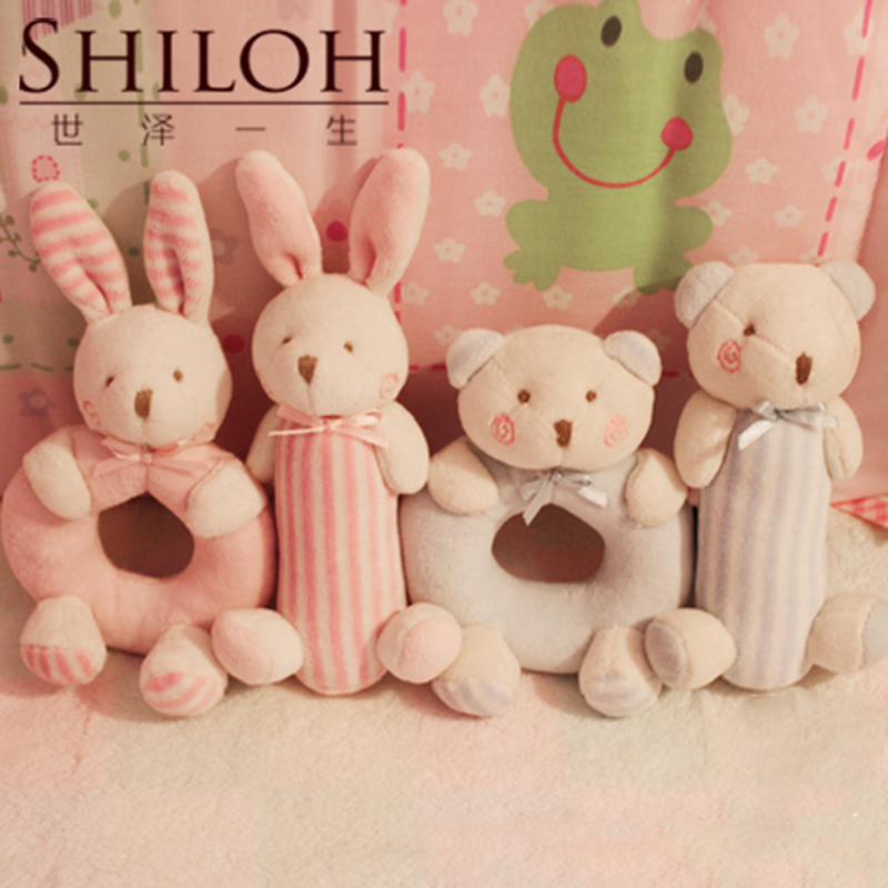 Shiloh Baby Rattle Toys 0-3 Months infant Bell 2PCS Mobile Crib Bed Toy Puzzle Soft Stuff Animal Plush Dolls(China (Mainland))