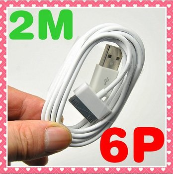 2 Meter Length Long USB Extension Data Cable For Apple IPhone 4 4G 4S 3GS IPad 2 IPod Sync 6Pin Charger 6 Pin Extender 2M 100PCS